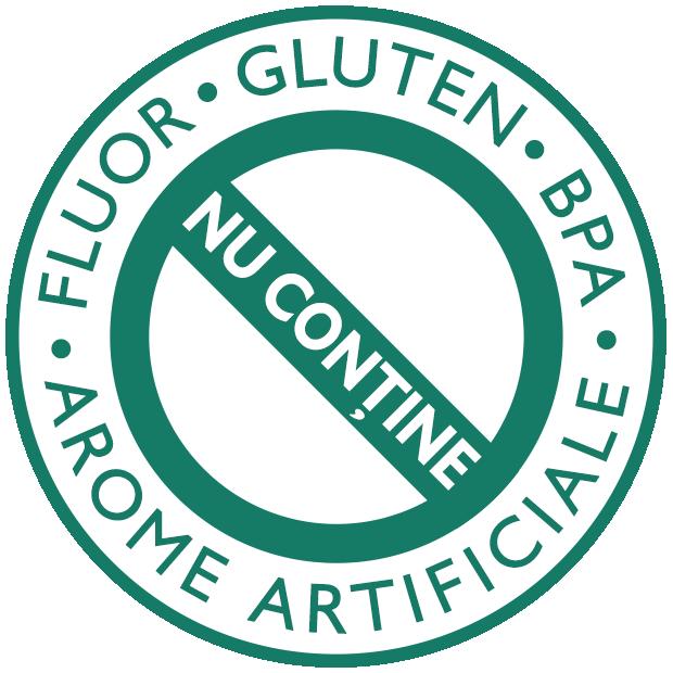 Nu conține fluor, gluten, arome artificiale, BPA